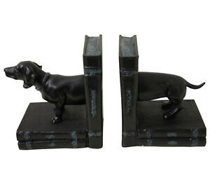 Dachshund Dog Bookends - Resin Aged Appearance - Heavy Approx 14cm High