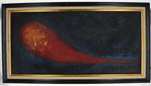 Vintage Abstract Fireball Painting Black & Orange Signed DEL