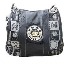 Betty Boop Logo Print Black Canvas & Faux Leather Shoulder Style Purse Handbag