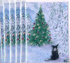 6 x Border Collie dog sheepdog pup greeting xmas cards when Christmas trees tall