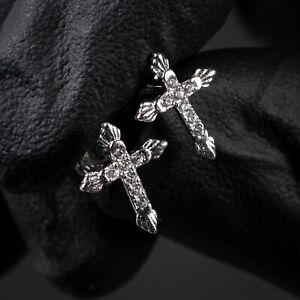 Small White Gold  Sterling Silver Men's Women's Iced Cz Mini Cross Stud Earrings