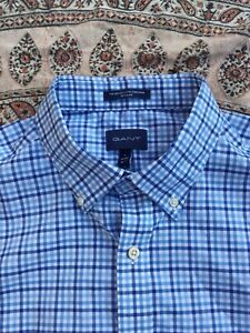 GANT - The Broadcloth Gingham - Blue-White - Check - Button Cuff - Shirt - L