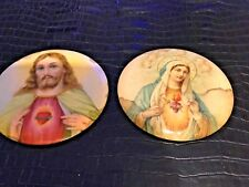 """Vintage 9"""" Round Jesus and Mary Aluminum wall plaques"""