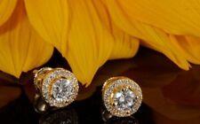 2Ct Round Cut Simulant Diamond Halo Stud Earrings 925 Silver Yellow Gold Finish