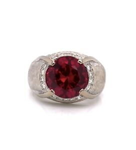 14K Solid White Gold 0.50 TCW Diamond and Red Stone Men's Ring 7.9 Grams