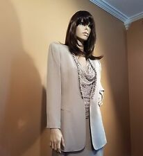 NWOT Judith Ann 3 Piece Suit Taupe Silk Jacket Beaded Camisole & Skirt, US 10