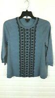 J. Crew Womens Embroidered Blue 3/4 Sleeve Merino Wool Top Sweater L