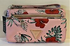 NWT GUESS ELLA WALLET Pink Floral Logo Phone Wristlet or Clutch Purse GENUINE