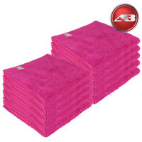 Microfibre Cleaning 10 Large pink Plush Auto Car Wax Detailing 320gsm Autobright