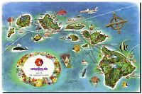 """Vintage Illustrated Air travel Map of Hawaii Islands CANVAS PRINT 24""""X 36"""""""