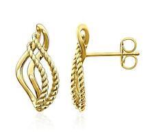 Pretty! 100% 14K Yellow Gold Rope Design Teardrop Shape Earrings