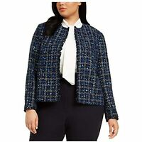 MSRP $149 Calvin Klein Womens Blue Plaid Suit Wear to Work Jacket Size 18W