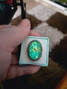 Australian Triplet Fire Opal Base Green 925 Sterling Silver Size R Ring