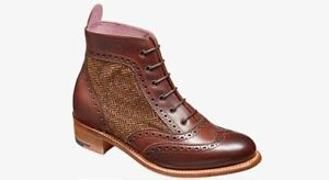 Women Handmade Brown Leather And Fabric Ankle Formal Oxford Brogue Wingtip Boot