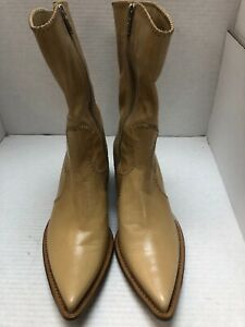 New ROCCO P. Tan Leather Western Mid Thigh Boots size 40