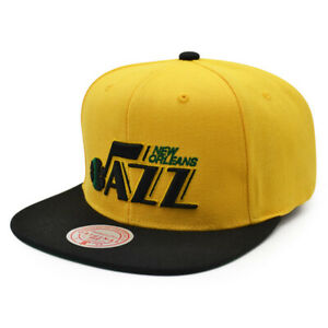 New Orleans Jazz Mitchell & Ness RELOAD Snapback HWC Hat= Yellow/Black