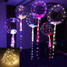 "20"" Luminous Led Balloons Round Bubble Helium Balloons String Lights Party Decor"