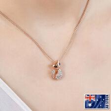 New 18K Rose Gold Filled Cute Cat SWAROVSKI CRYSTAL Pendant Charm Necklace