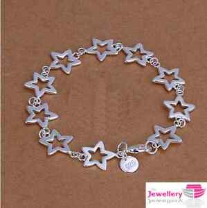 925 Sterling Silver Multi Star Bracelet Jewellery Womens Ladies Gifts