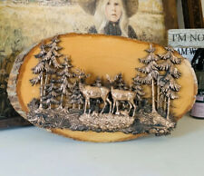 VTG Natural Wood Wall Decor Copper Deer Doe Outdoor Man Cave Hunter MCM