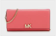 Michael Kors MK Mott Leather Clutch Purse Rose Pink Gold Chain