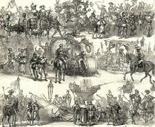 Antique Art print 1879 Procession Silver Wedding Emperor Empress Austria Vienna