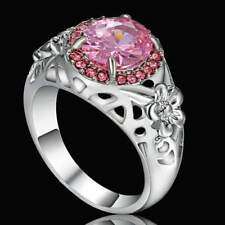 Size 8 Women's Pink Sapphire Crystal Wedding Ring  White Rhodium Plated jewelry