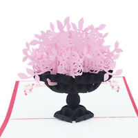 Rose Flower 3D Pop Up Paper Greeting Card Valentine's Day Birthday Gift Newly