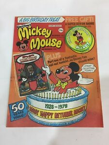 Vintage Walt Disney Mickey Mouse Comic Celebrating 50 Years With Free Gift