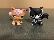 Littlest Pet Shop Lot 2 Angora Cat Orange Pink Swirl Black White Tuxedo