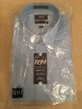 NWT Men's Sz 16 RBM Collection Blue Short Sleeve Shirt Wrinkle/Stain Resistant