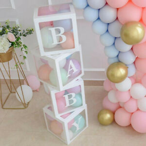 4PCS Boy Girl Baby Shower Love Party Decorations Transparent Cardboard Box Gift