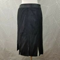 Juliana Collezione size 12 Midi Skirt Split Hemline faux leather Trim wool tweed