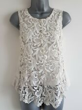 Size 6 Top White Crotchet Lace Fitted Sleeveless Women's Ladies Occasion Wear