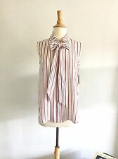 Frame Denim Red And Navy Stripe Bow Blouse, XS