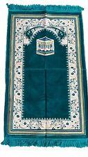 Teal Kabah & Vines Prayer Mat Salat Rug -  26x42-inch Quality Muslim Kabe Namaz
