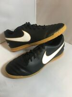 Nike Tiempo Rio III IC Indoor Soccer Men's Size 10.5 Shoes Black/Gold 819234-010
