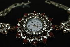 Turkish Ottoman Vintage 0.25 Ct Ruby CZ Bronze Flower Wrist Bracelet Watch