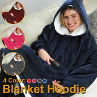 Unisex Blanket Sweatshirt Lining Plush Comfy Fleece Oversized Hoodie Pocket US