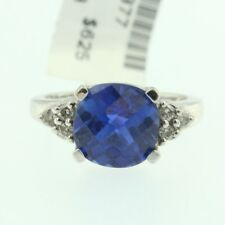 Womens 10k White Gold Blue Sapphire Ladys Gemstone Engagement Cocktail Ring