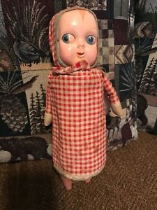 Antique Character Googly Eyed Glancing Wood Cloth Papier Mache doll Hug Me type
