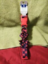 Top Paw Christmas Red & Blue Checks With Bow Tie Dog Collar Size Large NEW Tags