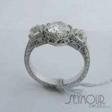 Vintage Art Deco Old European Cut 1.75ctw Diamond Engagement Filigree Ring