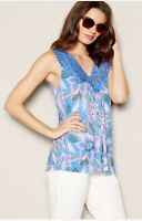 New Debenhams Mantaray Blue Pink Floral Crochet Lace Detail Sleeveless Top