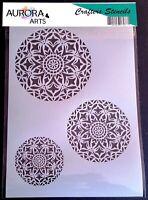Stencil by Aurora Arts A4  esoteric mandala set 190mic Mylar craft stencil 173