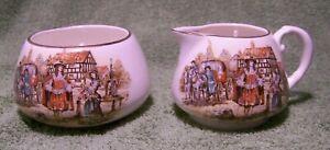 Pretty Set of Cream & Sugar Bowl, English Ware Lancaster Sandland Hanley England
