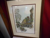 SALOMAN LIMITED EDITION SIGNED, NUMBERED & FRAMED WATERCOLOR PRINT-PARIS STREET!