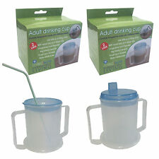 TWIN PACK MEDISURE ANTISPLASH ELDERLY DURABLE WIDE BASE 300ML ADULT DRINKING CUP