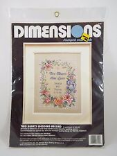 Dimensions Stamped Cross Stitch Kit Two Hearts Wedding Record 3122 Vintage 1992