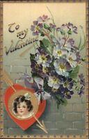 TUCK Floral Missives Valentine - Little Girl & Flowers c1910 Postcard